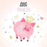 Little princess pig vector illustration. Cute watercolor piggy.