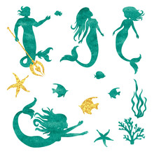 Watercolor Mermaid Silhouettes    Illustration Sticker