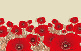 stylized poppy flowers field in red and ivory shades