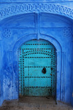 Ancient blue door in Chefchaouen medina, Morocco. - 145572781