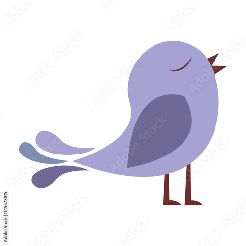 lilac color silhouette with cute bird vector illustration