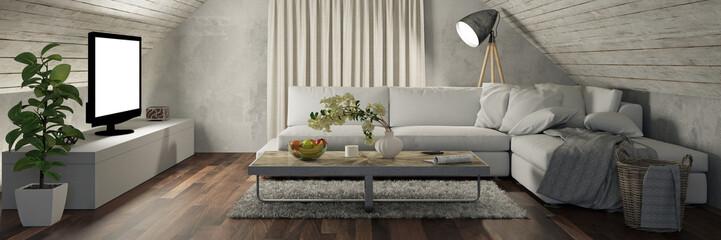 Wohnzimmer im Dachboden mit Fernseher und Sofa