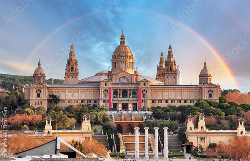MNAC in Barcelona with rainbow