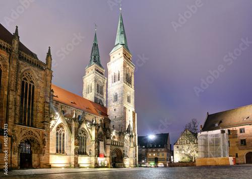 Nuremberg - St. Lawrence church at night, Germany