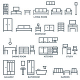Vector furniture outline icons 1 - 145575561