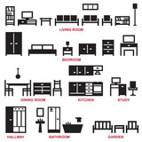 Vector furniture silhouette icons 1 - 145575573