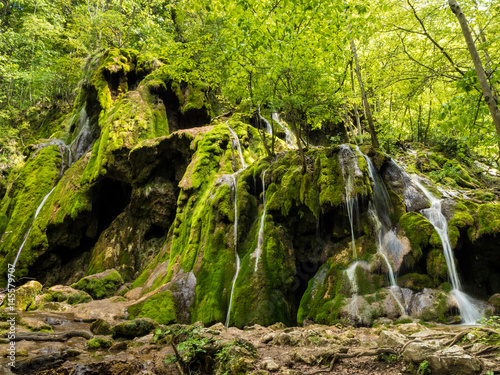 Beusnita waterfall in the National Park Nera Gorges in the Carpathian Mountains Romania - 145579707