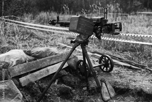 Poster Anti-aircraft guns, authentic machine gun during the second world war