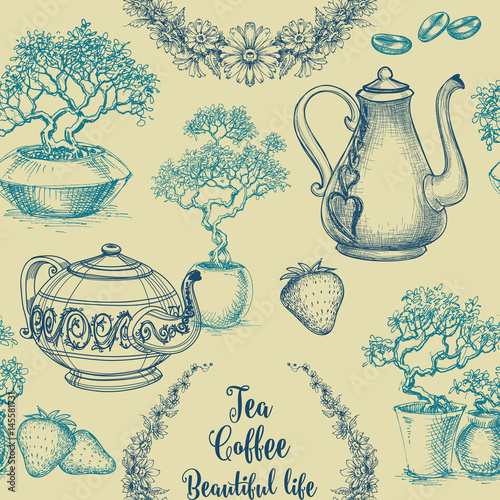 Tapeta ścienna na wymiar Tea and coffee seamless pattern. Table cloth print, kitchen dish design