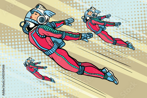 Fototapeta samoprzylepna Girl superhero flying in a futuristic space suit