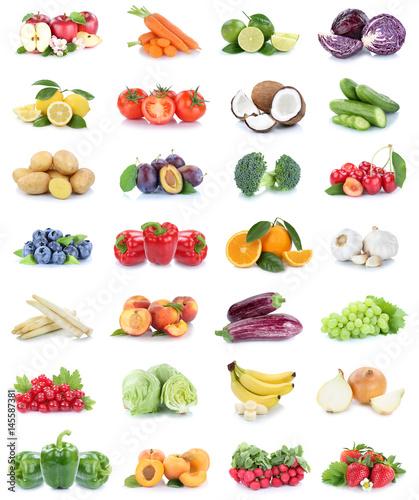 Obst und Gemüse Früchte Sammlung Äpfel, Orangen Bananen Erdbeeren Paprika Essen Freisteller - 145587381