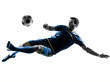 Quadro one caucasian soccer player man playing kicking in silhouette isolated on white background