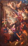 TURIN, ITALY - MARCH 14, 2017: The painting of Nativity in church Chiesa di San Lorenzo by Pietro Dufour (1689). - 145596344
