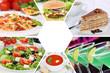 Sammlung Collage Essen und trinken Gerichte Getränke Restaurant Karte - 145597127