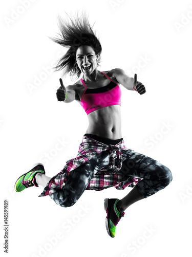Obraz w ramie one caucasian woman zumba fitness exercises dancer dancing isolated in silhouette on white background