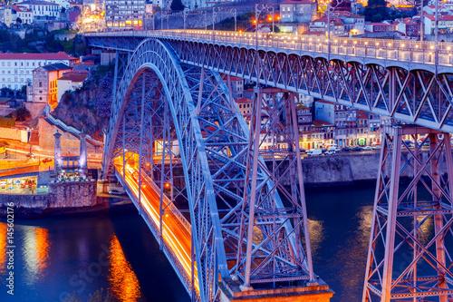 Porto. The Don Luis bridge In the blue hour..