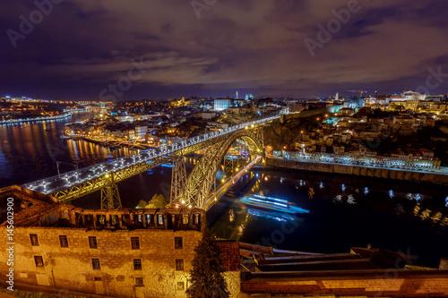 Porto. The Don Luis bridge at night.