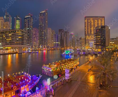 DUBAI, UAE - MARCH 25, 2017: The evening of Marina promenade.