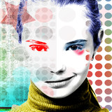 Poster with a portrait of a pretty grinning girl in a modern style of pop art.