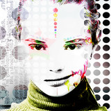 Poster with a portrait of a pretty girl in a modern style of pop art..