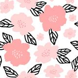 Hand Drawn Flowers Seamless Pattern - 145617181