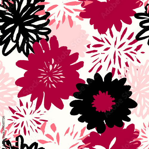 Tapeta Hand Drawn Flowers Seamless Pattern
