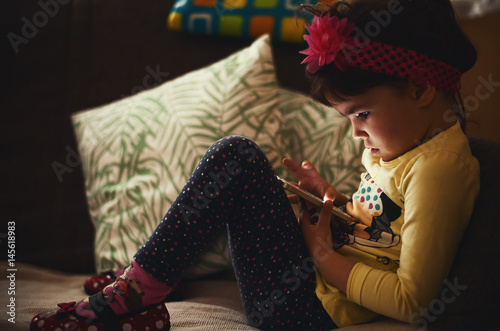 Little Girl and Mobile Phone Poster