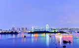 View of the Tokyo Bay and Rainbow Bridge at night in Tokyo
