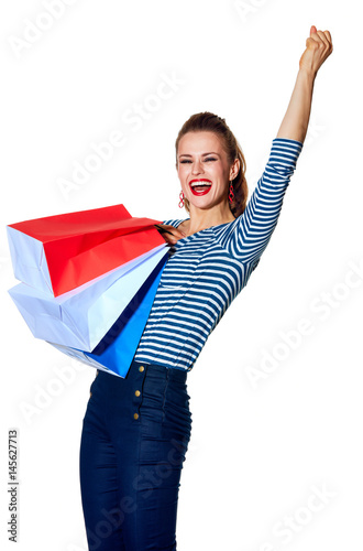 Plagát fashion-monger with shopping bags on white background rejoicing