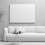 White poster on concrete wall, living room, 3d illustration - 145638909