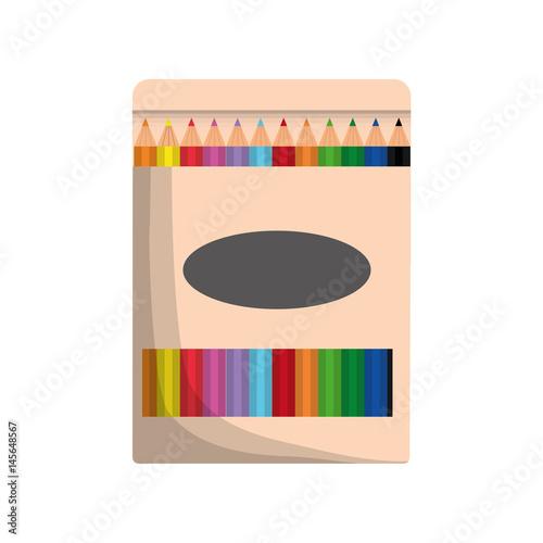 pencil colors box icon over white background. colorful design. vector illustration