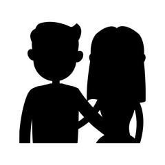 man and woman couple icon image vector illustration design  black silhouette