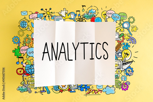 Analytics text with colorful illustrations