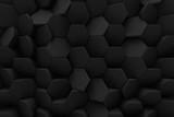 Abstrakcyjne sześciokąty, czarny plaster miodu - 3d
