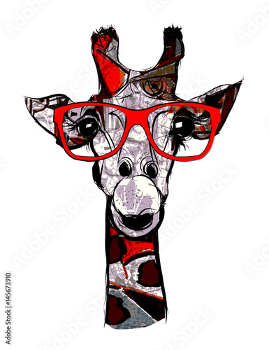 Deurstickers Art Studio Giraffe with sunglasses