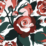 Seamless pattern with colorful roses.Floral vector print.Textile texture