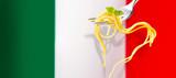 Heart shaped spaghetti over the Italian flag