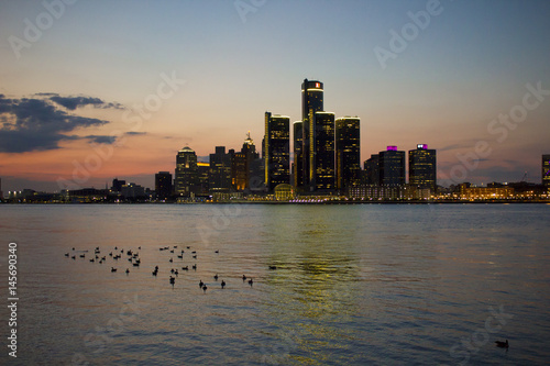 Detroit Skyline at Sunset, as seen from Windsor Poster
