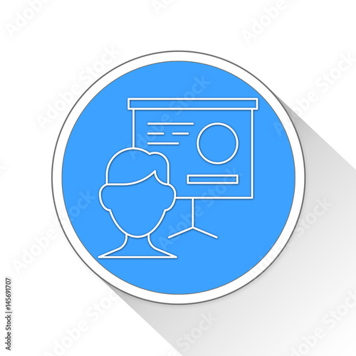 Poster presentation Button Icon Business Concept