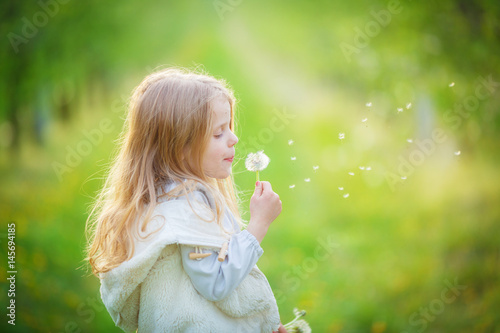 Plakat little girl blows off fluff from a bouquet of dandelions, standing in the middle of an apple orchard