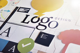 Logo design concept for graphic designers and design agencies services. Concept for web banners, internet marketing, printed material, presentation templates. - 145700158