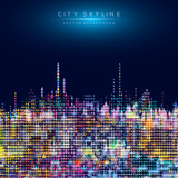 Modern city life abstract background design with geometric shapes. - 145702104