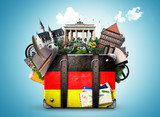 Germany, german landmarks, travel and retro suitcase - 145706708