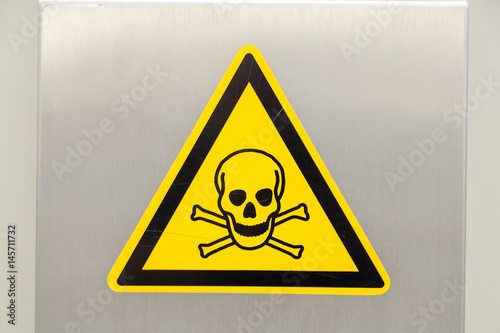 Poster Yellow Warning Sign with Skull