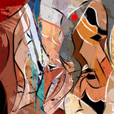 abstract background composition, with strokes, splashes and waves