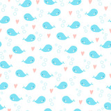 Cute cartoon whales seamless background. Hearts and bubbles around. Blue and pink colors