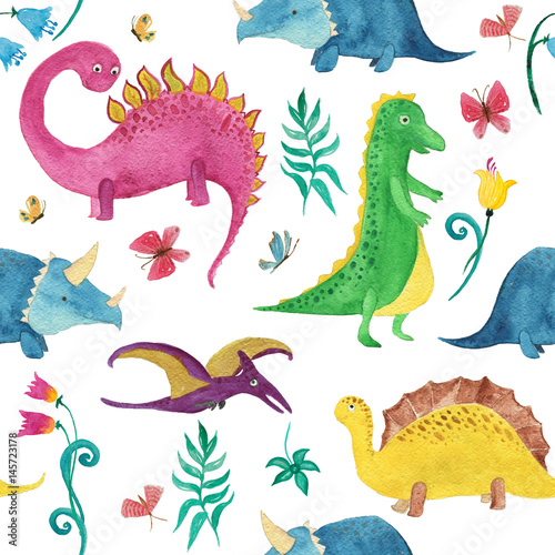 Cotton fabric Watercolor painting seamless pattern with cute dinosaurs