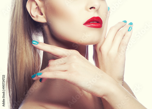 Juliste Red lips and hands of woman near face