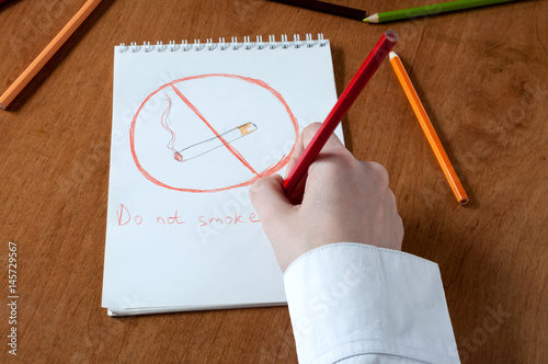 "Children's drawing with the inscription ""Not to smoke"" Poster"