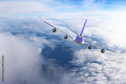 Plakat Plane in the sky flight travel transport airplane background nature